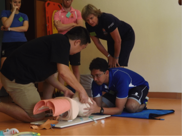 Airway skills training jaw thrust