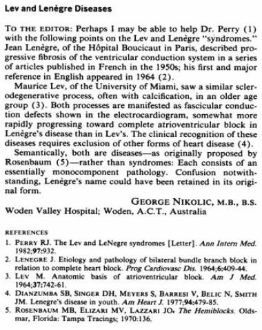 Nikolic G 1983 Lenegre-lev disease