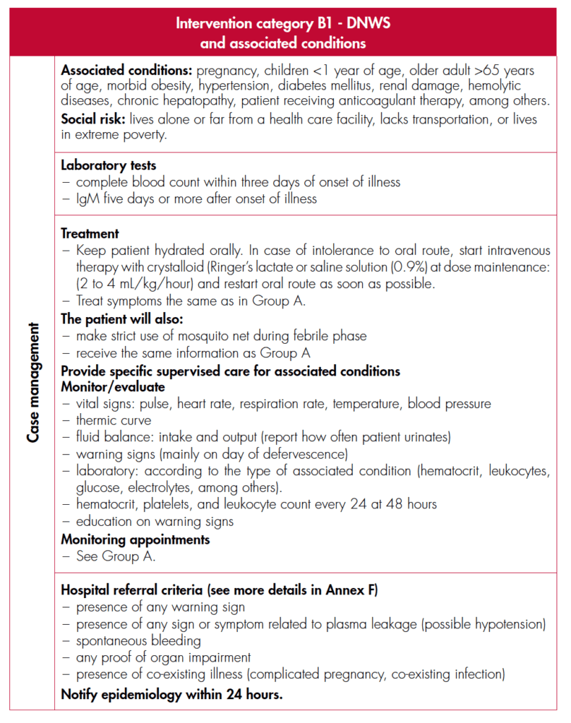 Dengue treatment guidelines with associated disorders or social risk