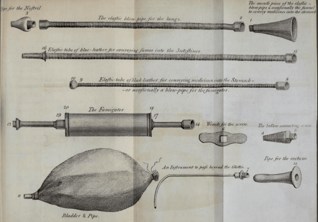 Description of the construction and uses of a portable apparatus for the recovery of the apparently dead
