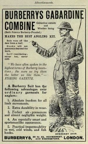 Burberry advertisement angling suite of gabardine fabric 1908
