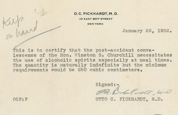 Get Out of Prohibition Free Pass Winston Churchill