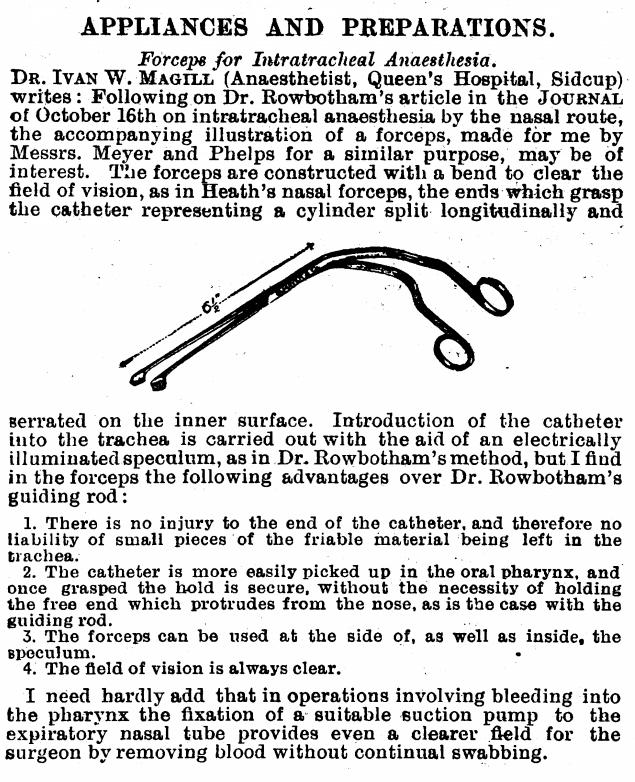 Magill forceps original description 1920