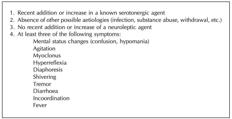 Sternbach criteria Serotonin Toxicity Criteria