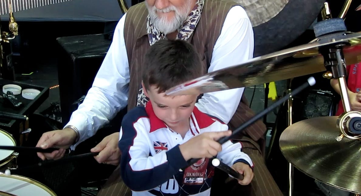 Hamish drumming with Mick Fleetwood