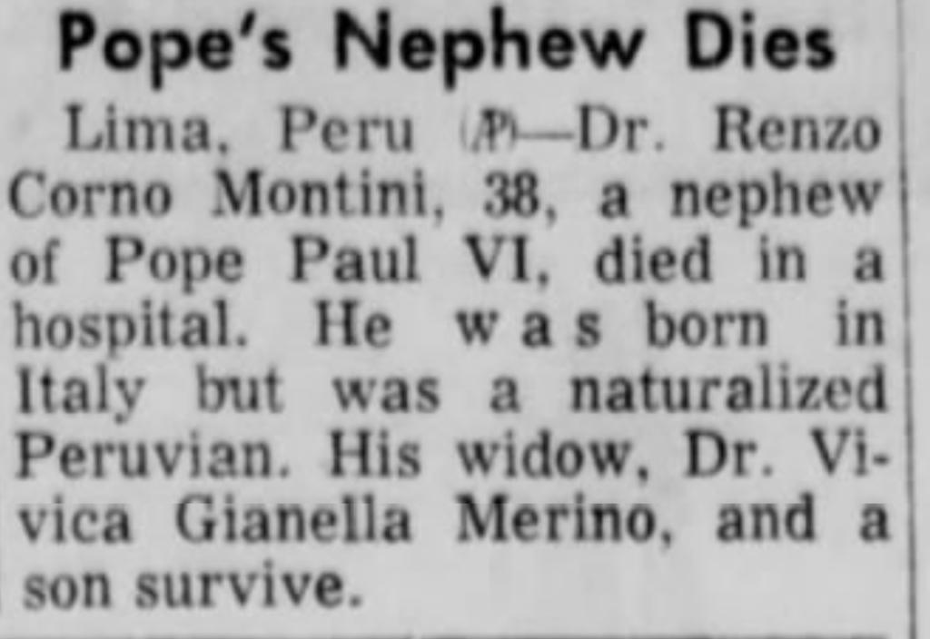Dr Renzo Corno Montini February 11 1965