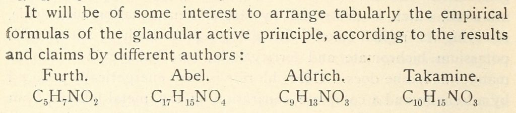 Adrenaline and epinephrine original formuale in 1901