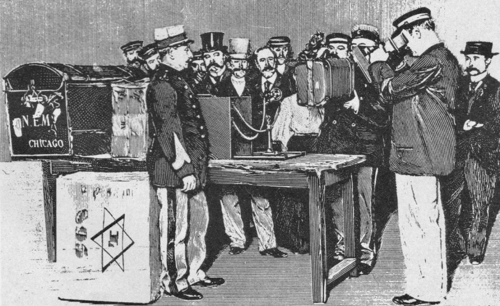 Officers of french customs using X-rays to examine passenger luggage 1897